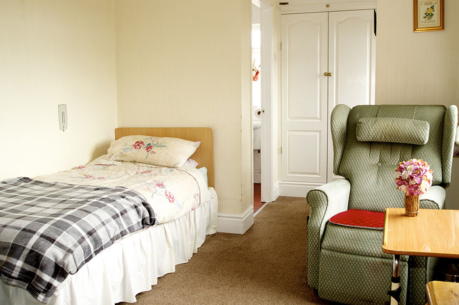Residents bedroom at Brookside Residential Home